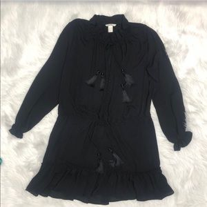 H&M dropped waist black tassels dress or coverup